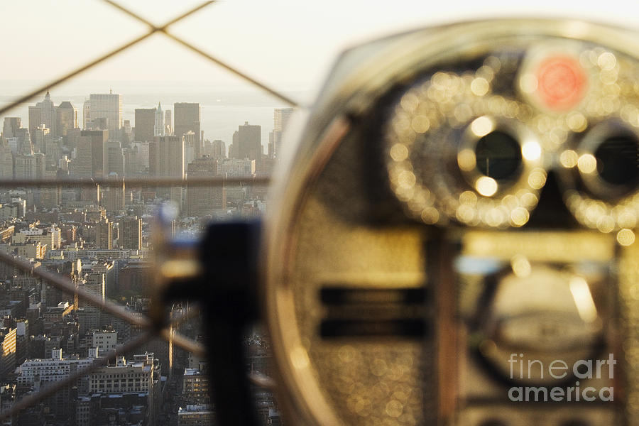 Downtown Manhattan Behind Coin Operated Binoculars Photograph