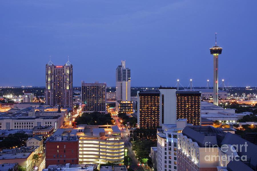 Downtown San Antonio At Night Photograph  - Downtown San Antonio At Night Fine Art Print