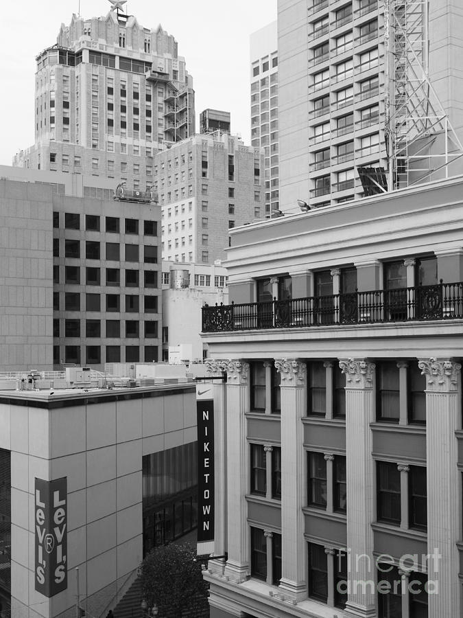 Downtown San Francisco Buildings - 5d19323 - Black And White Photograph