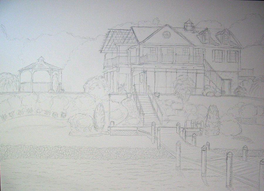 Hugo's House Drawing - Dr. Hugos Summer Home by Robert May