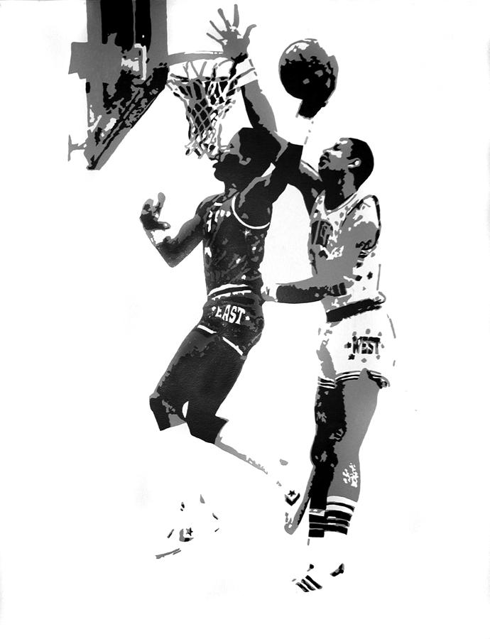 Dr. J And Kareem Painting  - Dr. J And Kareem Fine Art Print