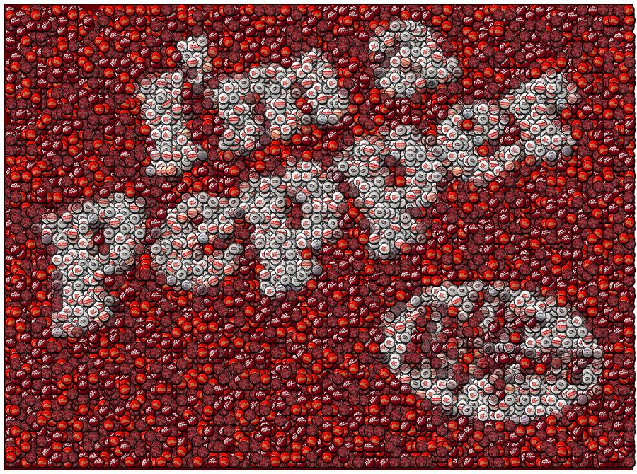 Dr. Pepper Bottle Cap Mosaic Mixed Media