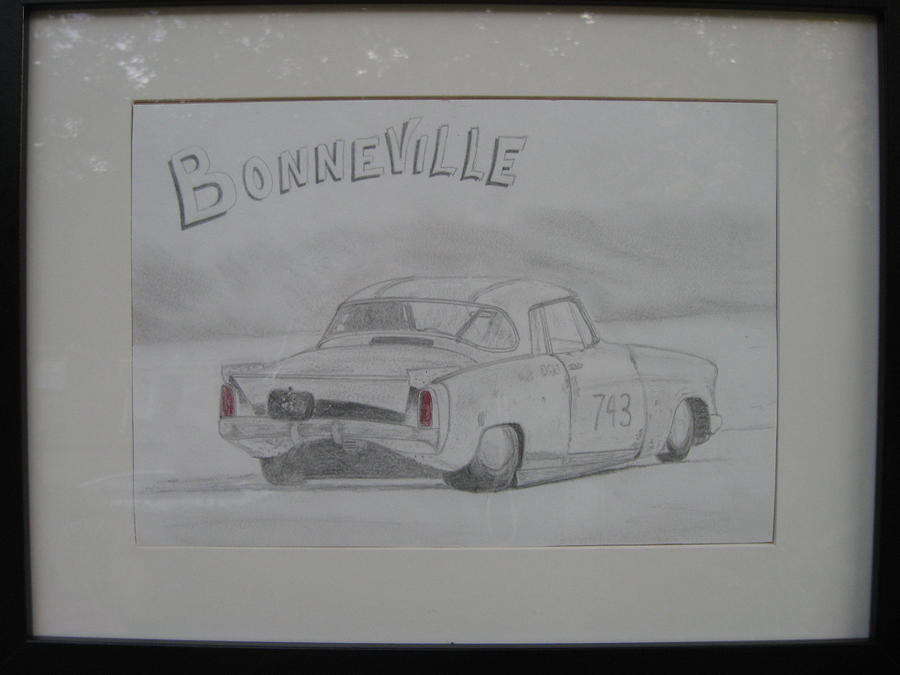 Drag At Bonneville Drawing