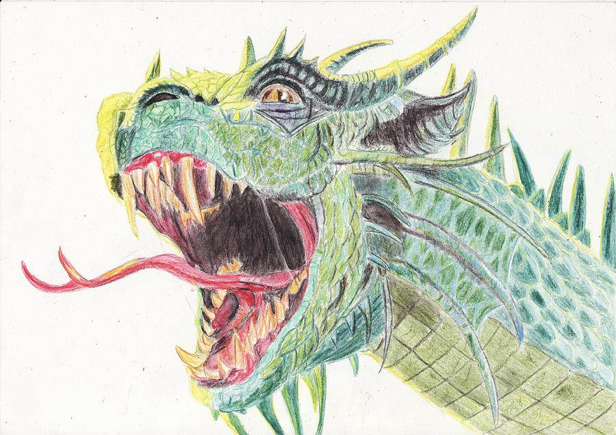 Dragon Drawing - Dragon by Annie GODET