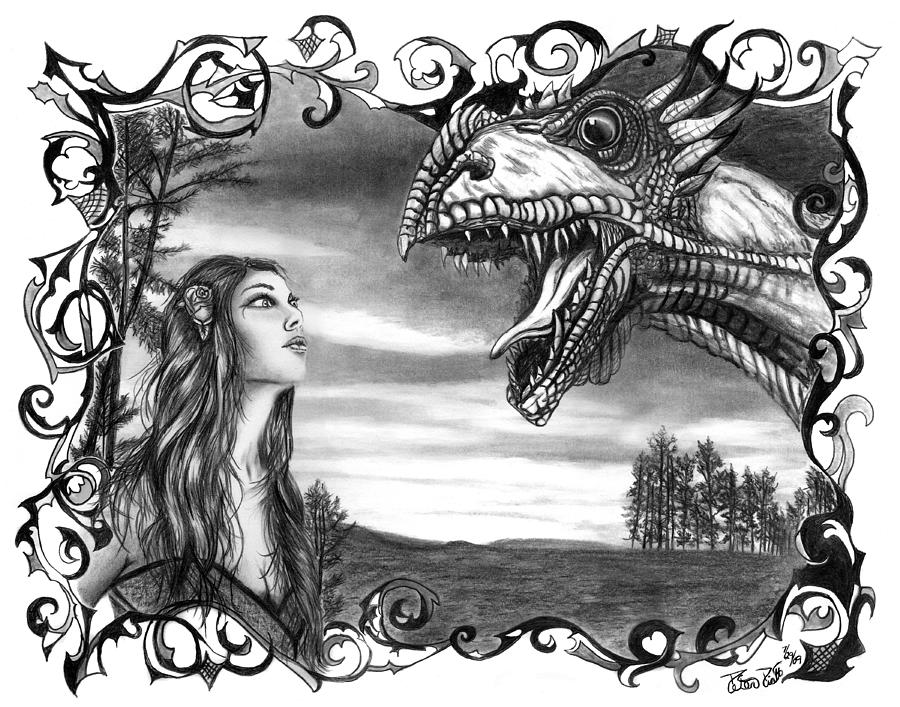 Dragon Whisperer  Drawing  - Dragon Whisperer  Fine Art Print