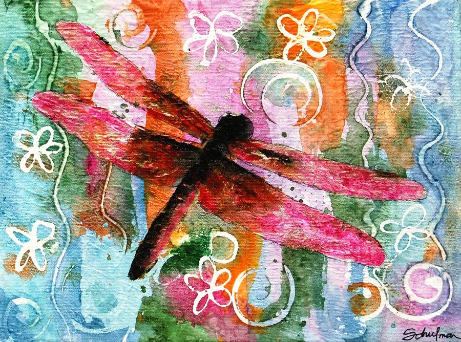 Dragonfly Art Painting - Dragonfly Fairy I by Miriam Schulman