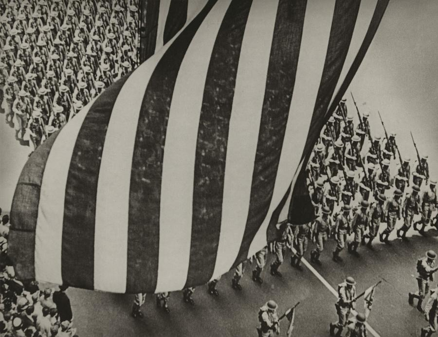 Dramatic Photo Of Us Flag And Uniformed Photograph
