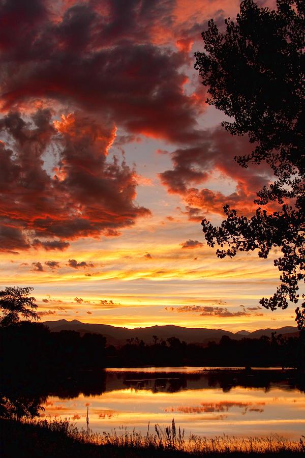 Dramatic Sunset Reflection Photograph