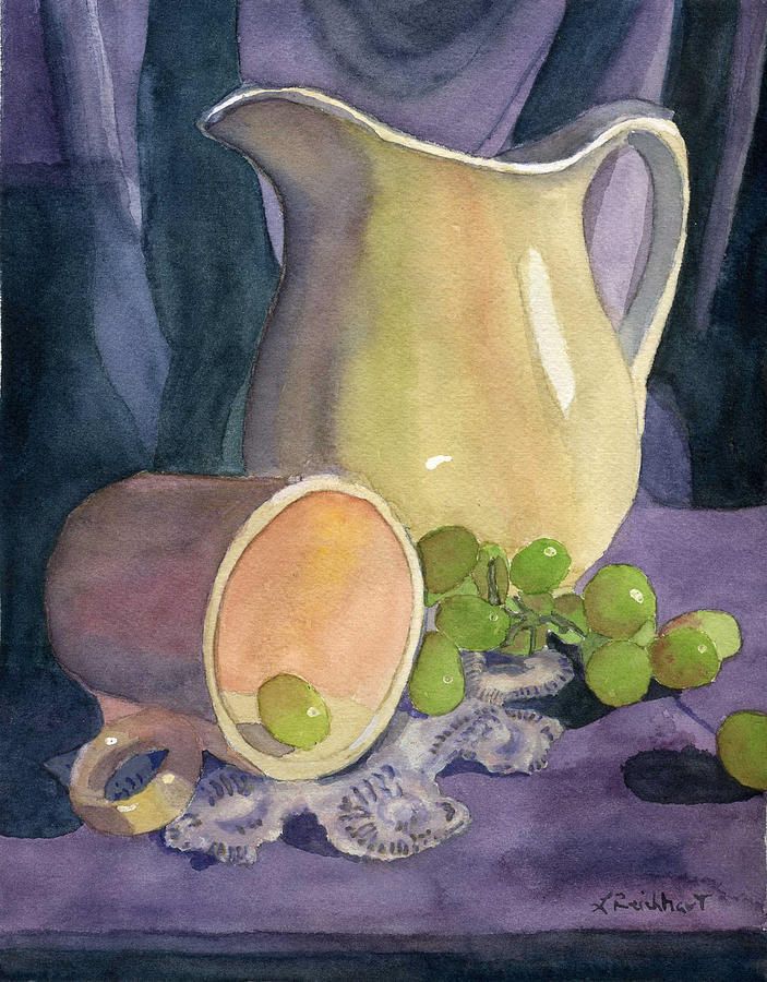 Drapes And Grapes Painting  - Drapes And Grapes Fine Art Print
