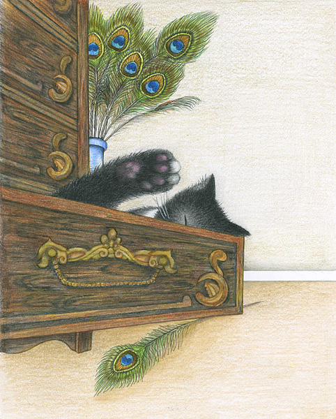 Cat Drawing - Drawer by Diana Lehr