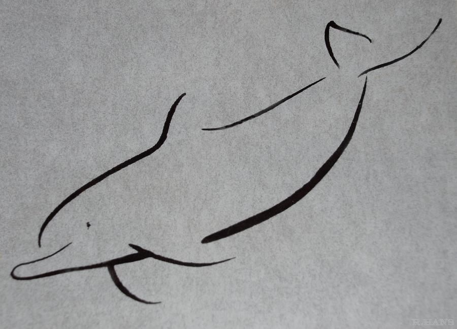 Dolphins Drawings Black And White Drawn Dolphin In Black And