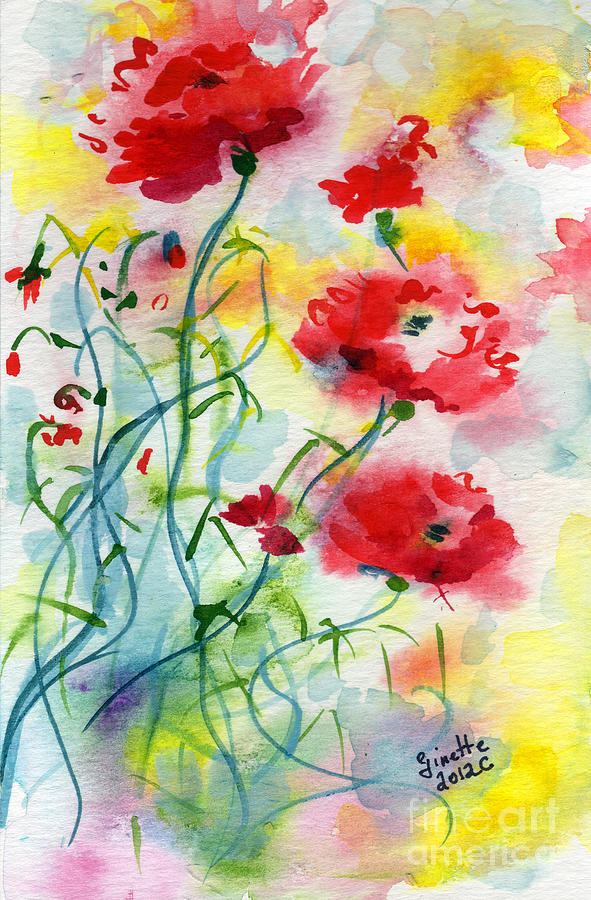 Dreamy Poppies Painting  - Dreamy Poppies Fine Art Print