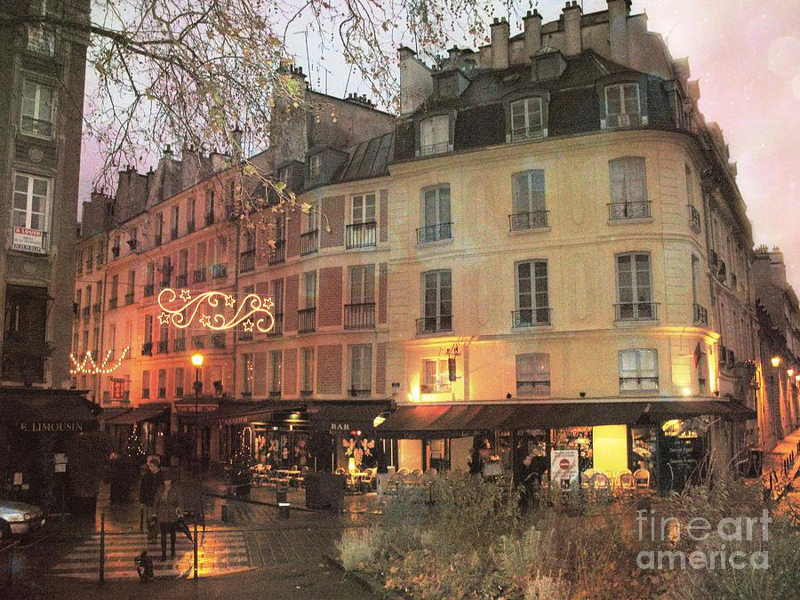Dreamy Romantic Paris Night Street Scene by Kathy Fornal