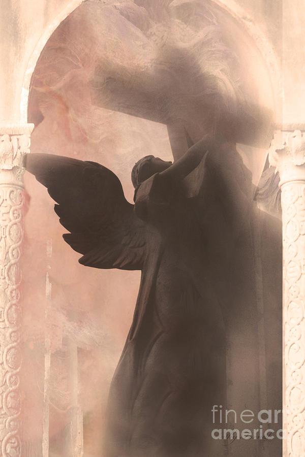 Dreamy Spiritual Ethereal Angel On Cross Photograph