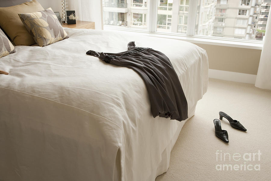 Dress Lying On Bed Photograph  - Dress Lying On Bed Fine Art Print
