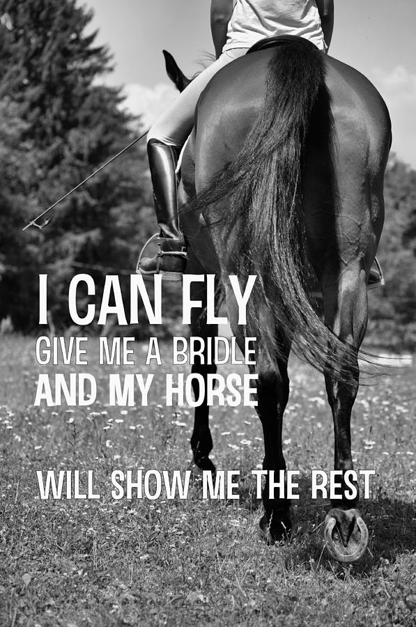 DRESSAGE IN THE DAISIES quote Print by JAMART Photography