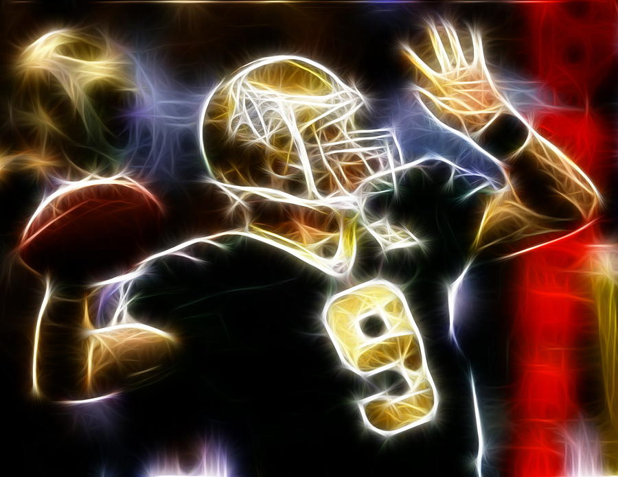 Drew Brees New Orleans Saints Digital Art  - Drew Brees New Orleans Saints Fine Art Print