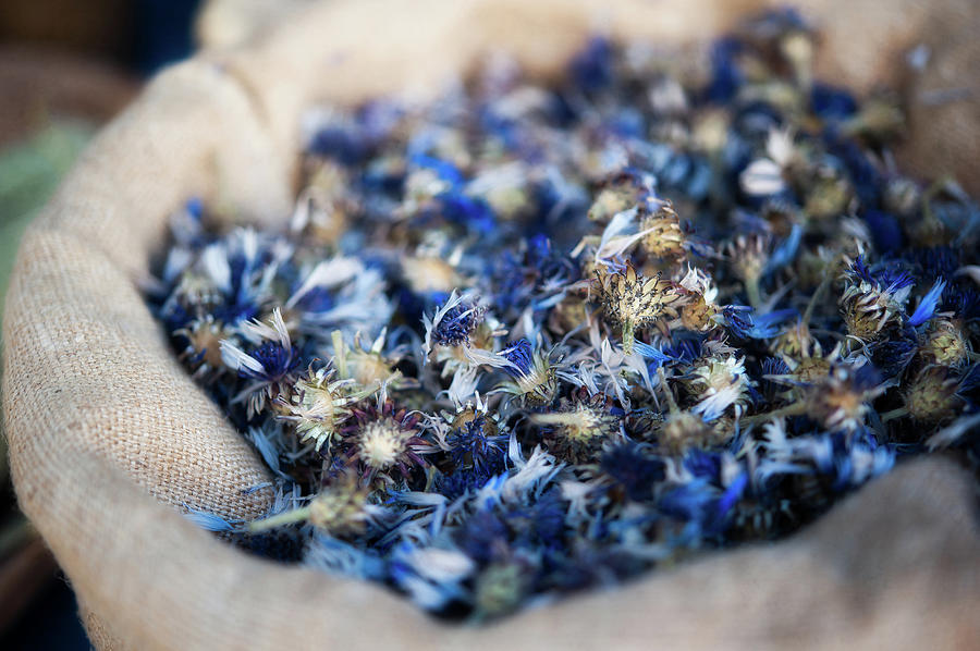 Dried Blue Flowers In Burlap Bag Photograph