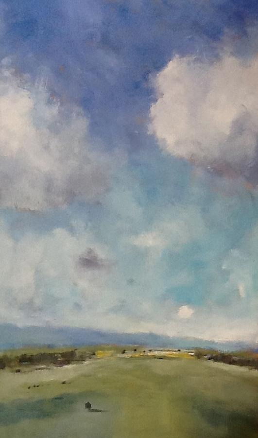 Oil Sketch Prints Painting - Drifting Clouds Over Arreton Valley by Alan Daysh