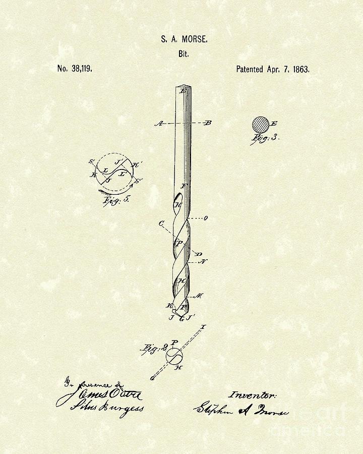 Drill Bit Morse 1863 Patent Art by Prior Art Design