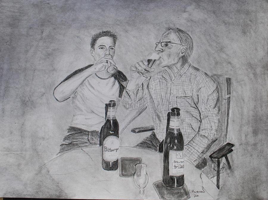 Portrait Drawing - Drinking Buddies by Brian Hustead