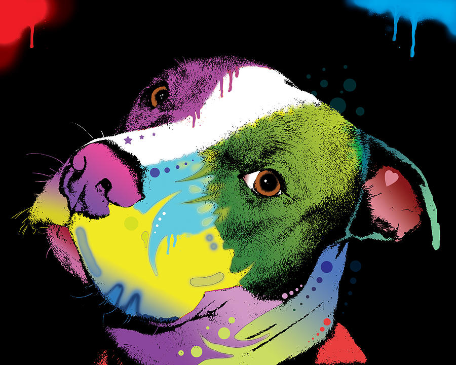 Dripful Pitbull Painting  - Dripful Pitbull Fine Art Print