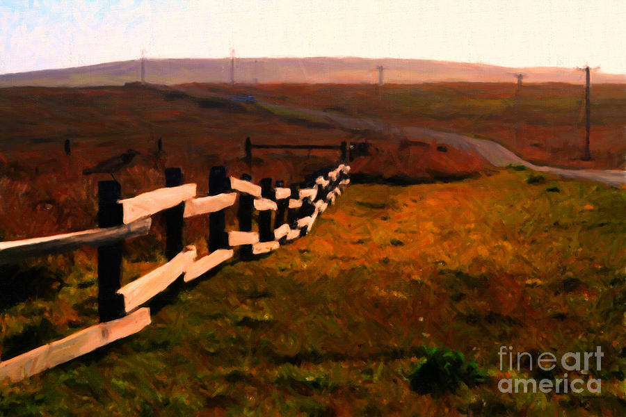 Driving Down The Lonely Highway . Study 2 . Painterly Photograph  - Driving Down The Lonely Highway . Study 2 . Painterly Fine Art Print