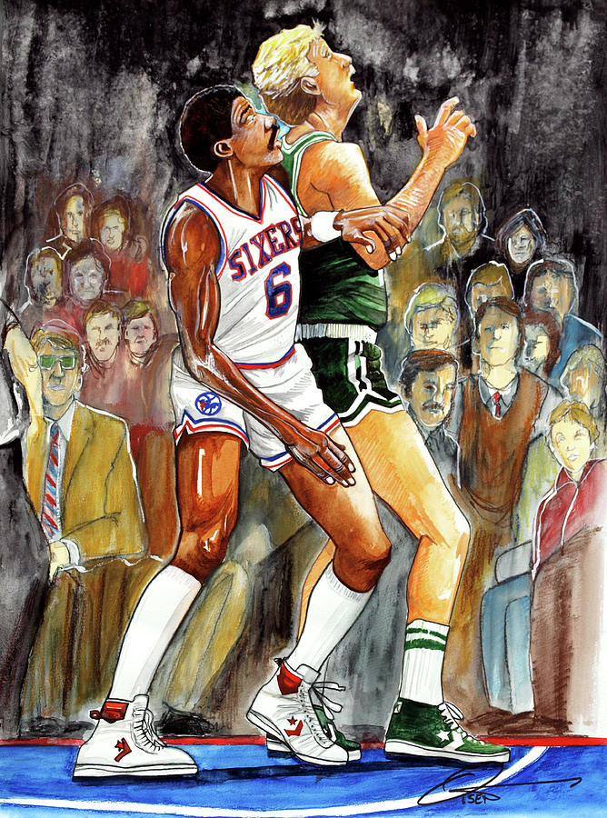 Dr.j Vs. Larry Bird Painting  - Dr.j Vs. Larry Bird Fine Art Print