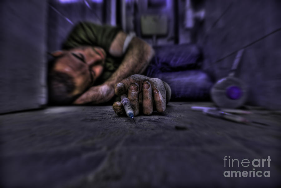 Drug Addict Shooting Up Photograph  - Drug Addict Shooting Up Fine Art Print
