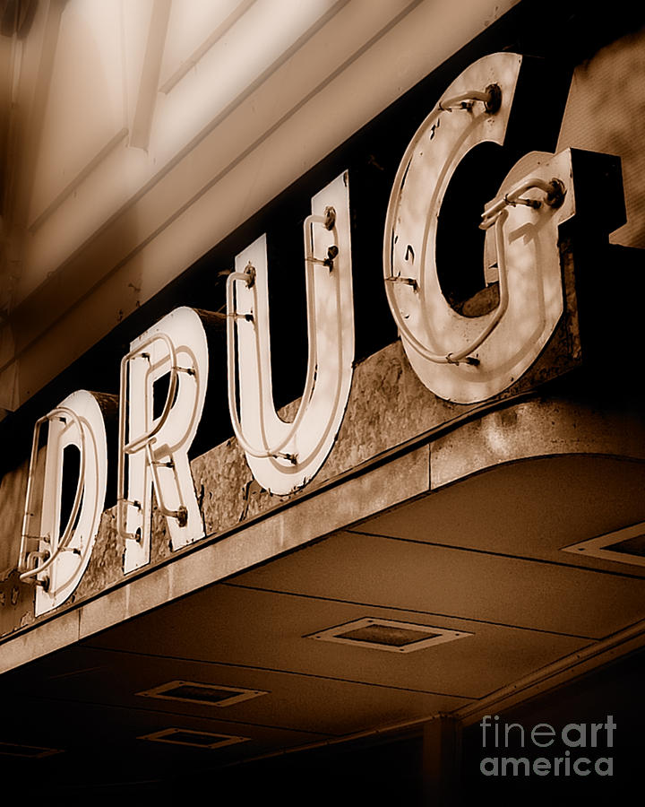 Drug Store Sign - Vintage Downtown Pharmacy Photograph  - Drug Store Sign - Vintage Downtown Pharmacy Fine Art Print