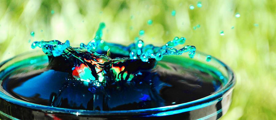 Fruit Water Splash Splashes Squirt Drip Photography Photograph Strawberry Drop Blue Dunk Berry   Photograph - Drunken  by Sydney  Zmitrewicz