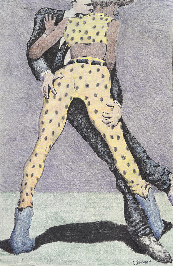 Polka Dots Drunk Bar Nightclub Drawing - Drunksuits by Vincent Randlett III