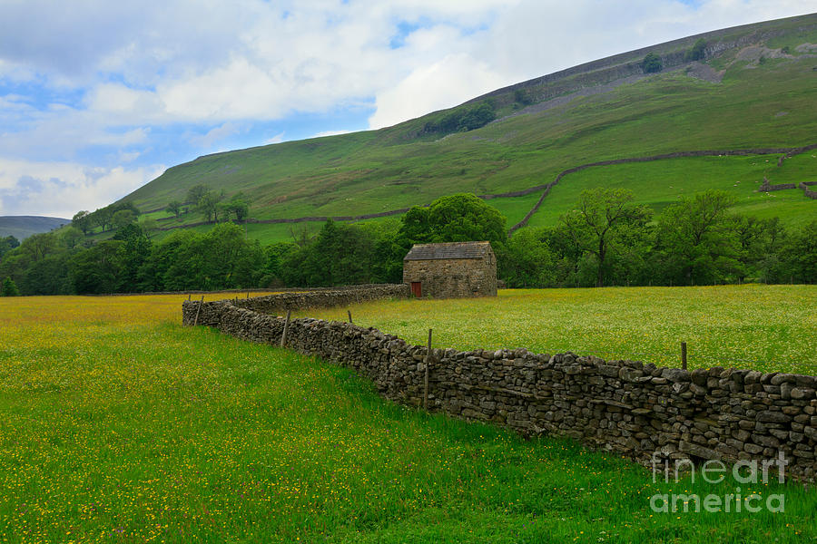 Dry Stone Walls And Stone Barn Photograph