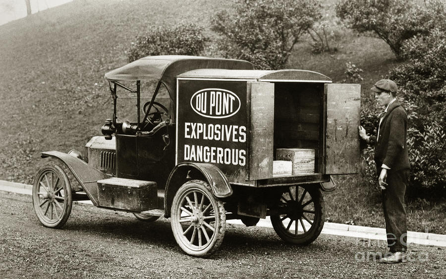 Du Pont Co. Explosives Truck Pennsylvania Coal Fields 1916 Photograph  - Du Pont Co. Explosives Truck Pennsylvania Coal Fields 1916 Fine Art Print