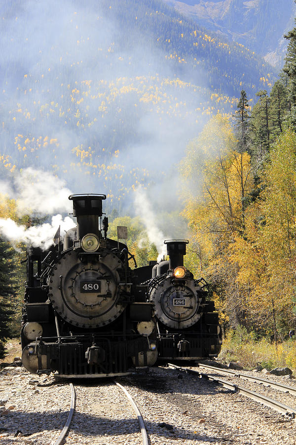 Durango-silverton Narrow Gauge Railroad Photograph - Dual Engines by Marta Alfred