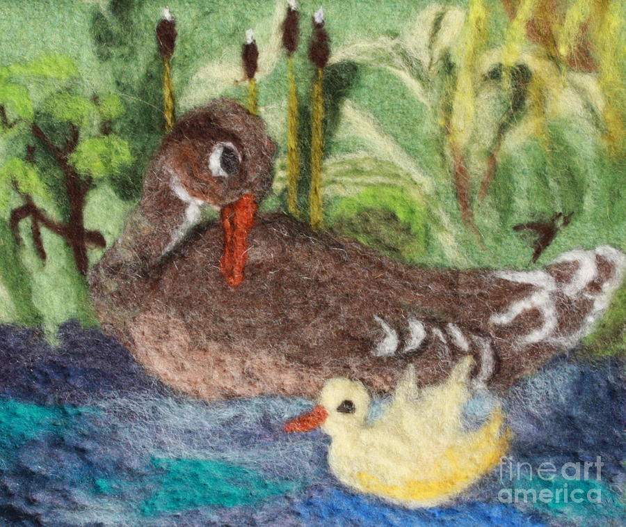 Duck And Duckling Tapestry - Textile  - Duck And Duckling Fine Art Print