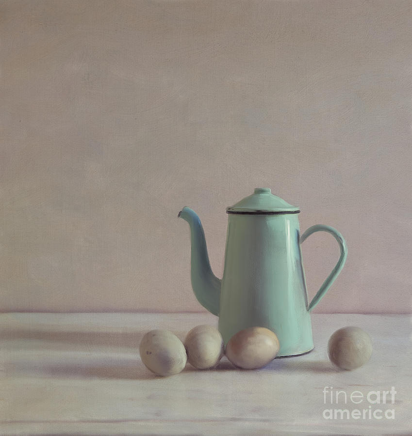 Duck Eggs Mixed Media - Duck Eggs And Coffee Pot by Paul Grand