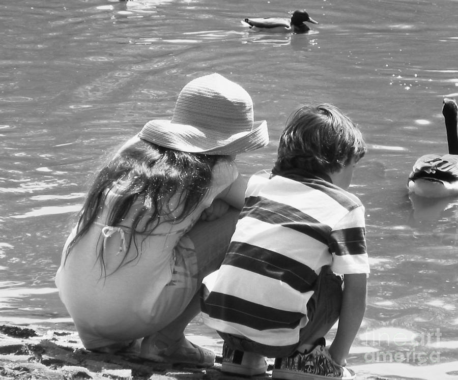 Duck Pond Siblings Photograph  - Duck Pond Siblings Fine Art Print
