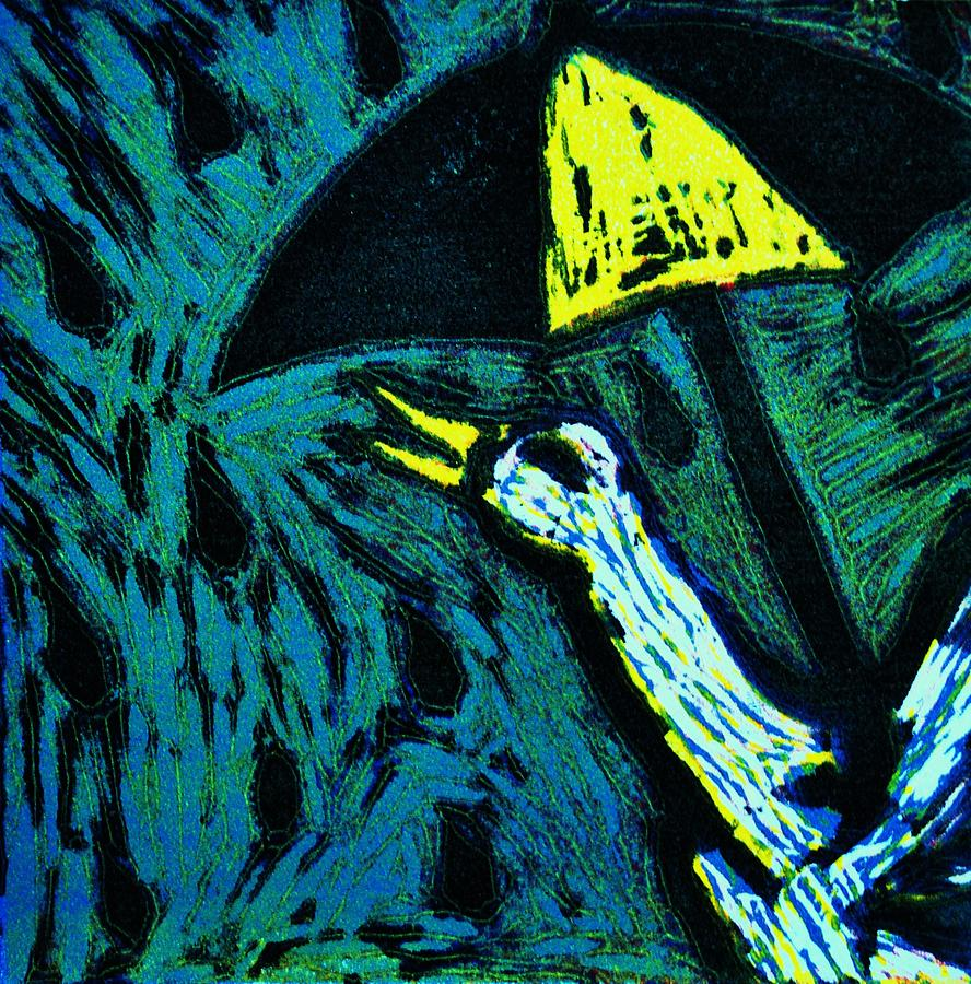 Duck With Umbrella Blue Mixed Media