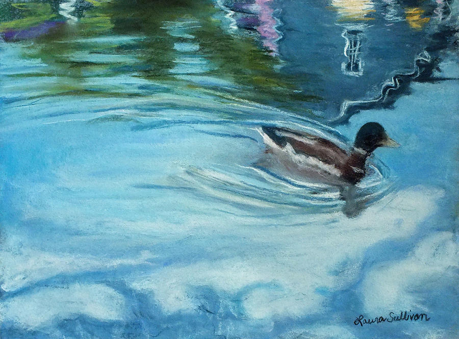 Duck With Wavy Reflections Pastel  - Duck With Wavy Reflections Fine Art Print