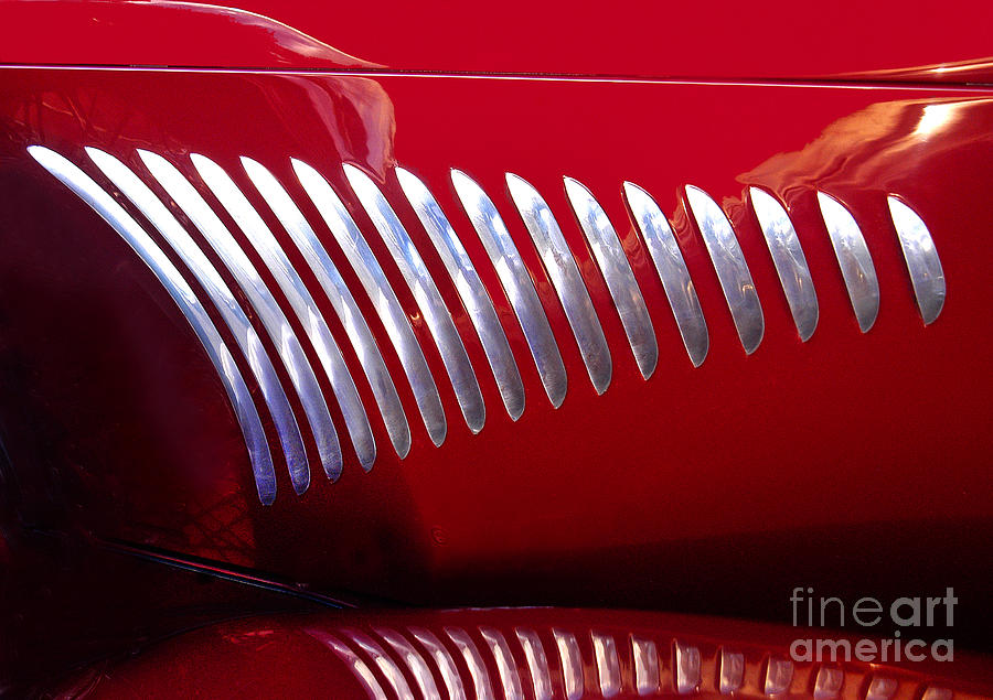 Duesenberg Hood Detail Abstract Photograph