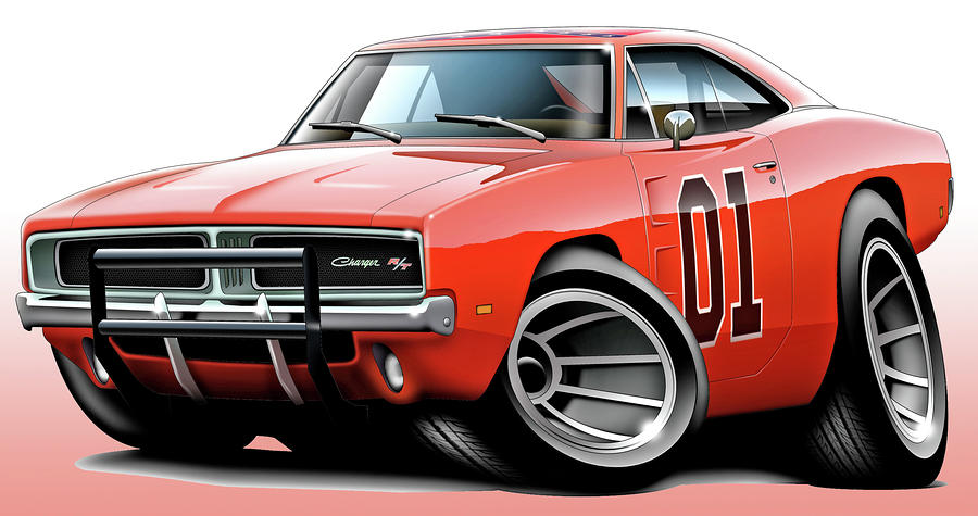Dukes Of Hazzard General Lee Digital Art  - Dukes Of Hazzard General Lee Fine Art Print