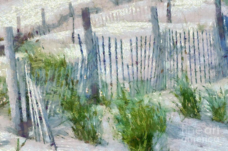 Dune Fences At Cape Hatteras National Seashore Painting  - Dune Fences At Cape Hatteras National Seashore Fine Art Print
