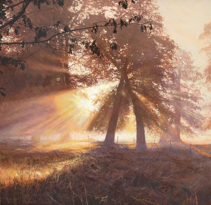 Sun Ray Painting - Dunham by Helen Parsley