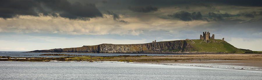 Dunstanburgh Castle On A Hill Under A Photograph  - Dunstanburgh Castle On A Hill Under A Fine Art Print