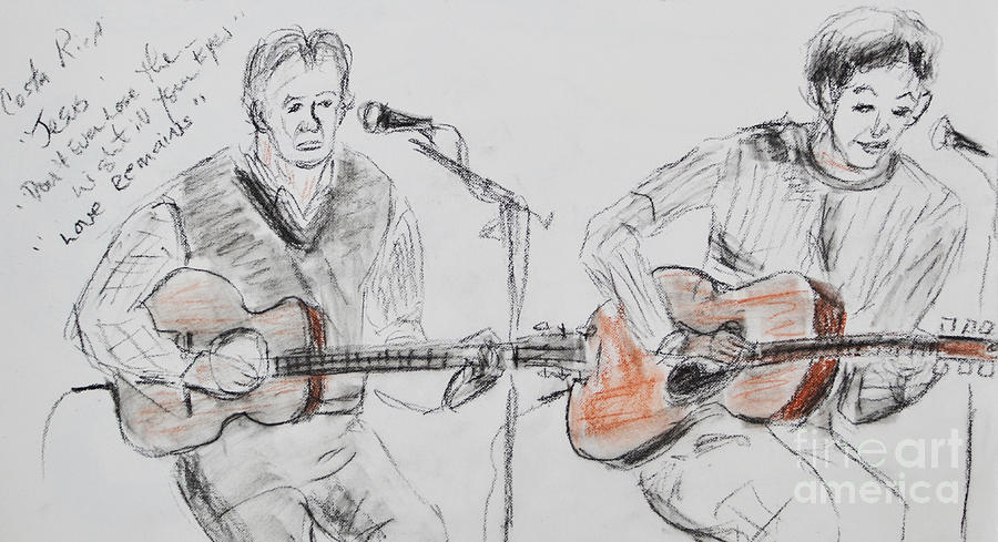 Duo Singing  Drawing  - Duo Singing  Fine Art Print