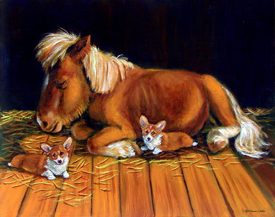 Dusk In The Barn - Pembroke Welsh Corgi Painting