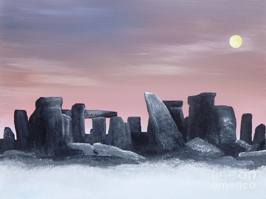 Dusk On The Winter Solstice At Stonehenge 1877 Painting  - Dusk On The Winter Solstice At Stonehenge 1877 Fine Art Print