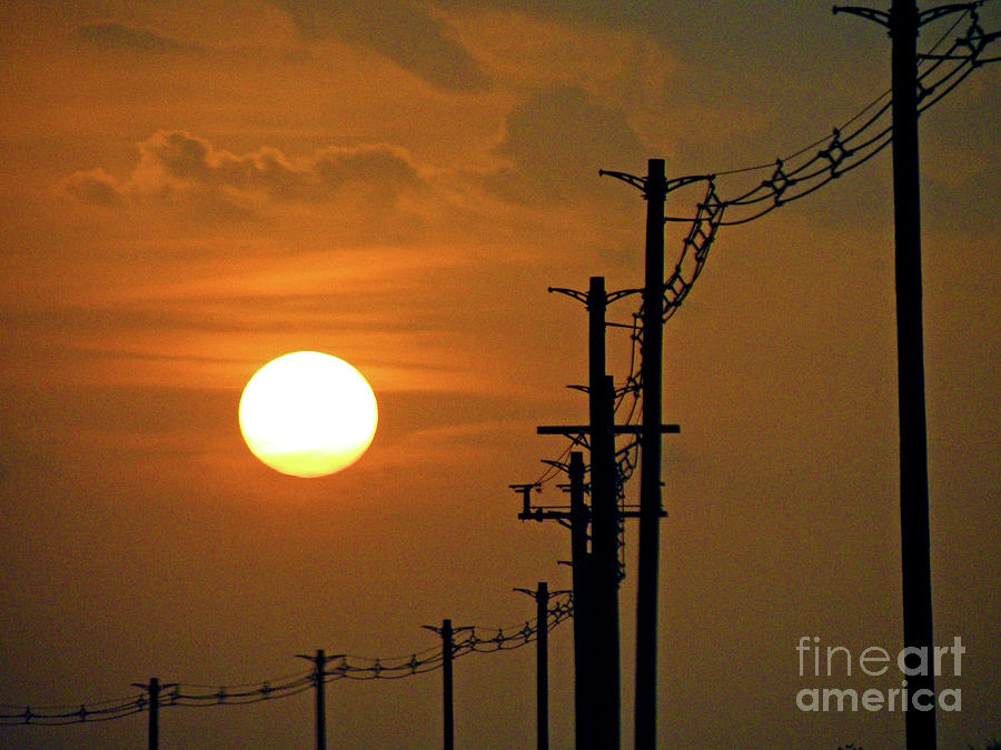 Sun Photograph - Dusk With Poles by Joe Jake Pratt