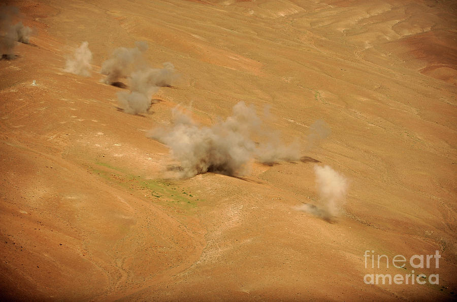 Dust Rises From The Impact Points Of Kp Photograph  - Dust Rises From The Impact Points Of Kp Fine Art Print